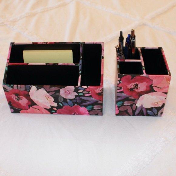 Floral Pencil Holder and Desk Organizer Set